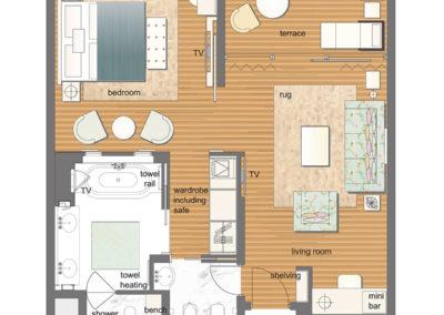 hotel-design-room floor plan-chambre-luxury